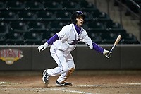 Nick Madrigal (3) of the Winston-Salem Dash follows through on his swing against the Wilmington Blue Rocks at BB&T Ballpark on April 15, 2019 in Winston-Salem, North Carolina. The Dash defeated the Blue Rocks 9-8. (Brian Westerholt/Four Seam Images)