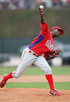 March 25, 2010:  Pitcher Ebelin Lugo of the Philadelphia Phillies organization during a Spring Training game at the Carpenter Complex in Clearwater, FL.  Photo By Mike Janes/Four Seam Images