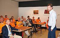 13-sept.-2013,Netherlands, Groningen,  Martini Plaza, Tennis, DavisCup Netherlands-Austria, First Rubber,  Sjeng Schalken speeks to volontairs <br /> Photo: Henk Koster
