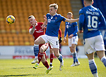 St Johnstone v Aberdeen…10.04.21   McDiarmid Park   SPFL<br />Ali McCann and Jonny Hayes<br />Picture by Graeme Hart.<br />Copyright Perthshire Picture Agency<br />Tel: 01738 623350  Mobile: 07990 594431