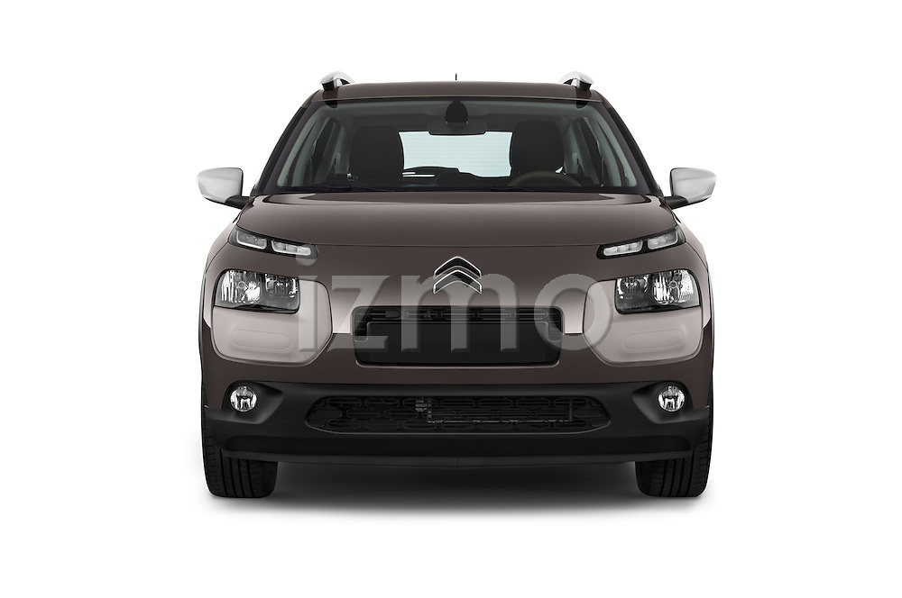Car photography straight front view of a 2014 Citroen C4 CACTUS Shine Edition Midnight 5 Door Mini Van 2WD Front View