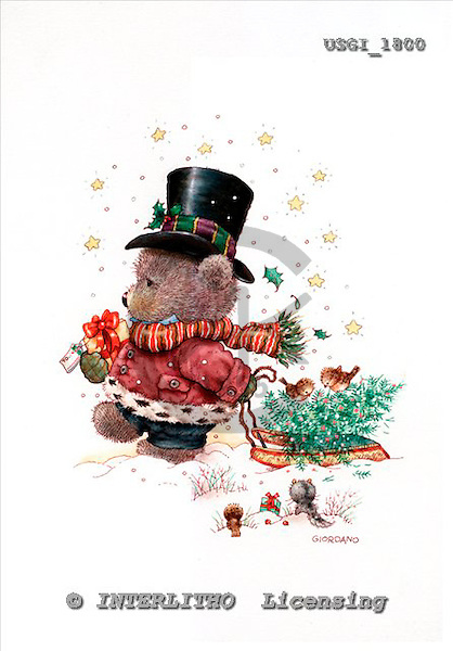 GIORDANO, CHRISTMAS ANIMALS, WEIHNACHTEN TIERE, NAVIDAD ANIMALES, Teddies, paintings+++++,USGI1800,#XA#