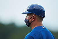 Toronto Blue Jays scout xxx coaches first base during the East Coast Pro Showcase at the Hoover Met Complex on August 4, 2020 in Hoover, AL. (Brian Westerholt/Four Seam Images)