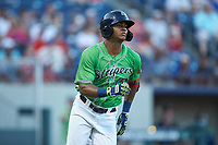 Cristian Pache (15) of the Gwinnett Stripers hustles down the first base line against the Scranton/Wilkes-Barre RailRiders at Coolray Field on August 16, 2019 in Lawrenceville, Georgia. The Stripers defeated the RailRiders 5-2. (Brian Westerholt/Four Seam Images)
