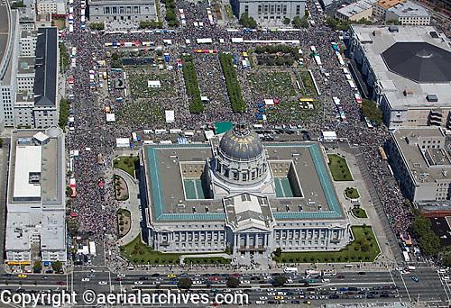 aerial photograph of crowds at City Hall Civic Center San Francisco, California during San Francisco Pride, June 25, 2006