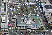 aerial photograph of crowds at City Hall Civic Center San Francisco, California during San Francisco Pride, June 25, 2006