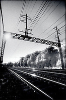 Railroad tracks and overhead lines<br />