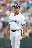July 4, 2009: Everett AquaSox manager John Tamargo coaches third base during a Northwest League game against the Yakima Bears at Everett Memorial Stadium in Everett, Washington.