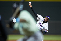 Winston-Salem Dash relief pitcher Alec Hansen (35) delivers a pitch to the plate against the Wilmington Blue Rocks at BB&T Ballpark on April 15, 2019 in Winston-Salem, North Carolina. The Dash defeated the Blue Rocks 9-8. (Brian Westerholt/Four Seam Images)