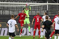 2nd June 2021, Tivoli Stadion, Innsbruck, Austria; International football friendly, Germany versus Denmark;  Yussuf Poulsen 20 Denmark and Manuel Neuer 1 Germany  challenge for a cross