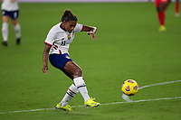 ORLANDO CITY, FL - FEBRUARY 18: Catarina Macario #11 takes a shot during a game between Canada and USWNT at Exploria stadium on February 18, 2021 in Orlando City, Florida.