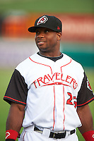Arkansas Travelers outfielder Kentrail Davis (23) warms up before a game against the Corpus Christi Hooks on May 29, 2015 at Dickey-Stephens Park in Little Rock, Arkansas.  Corpus Christi defeated Arkansas 4-0 in a rain shortened game.  (Mike Janes/Four Seam Images)