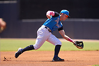 Tampa Tarpons second base Trevor Hauver (17) fields a ground ball during a game against the Dunedin Blue Jays on May 9, 2021 at George M. Steinbrenner Field in Tampa, Florida.  (Mike Janes/Four Seam Images)