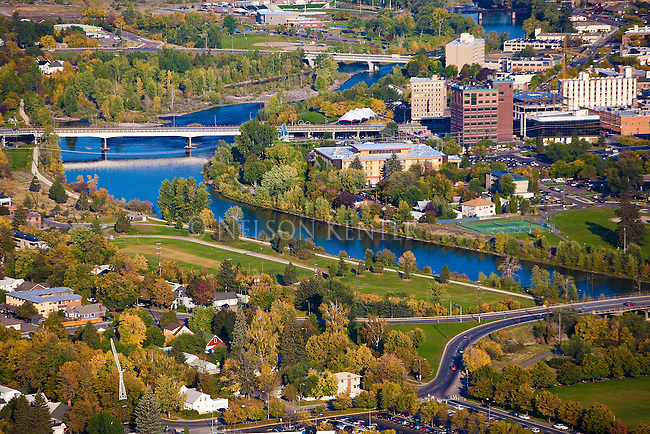 Downtown Missoula, Montana and the Clark Fork River viewed from Mount Sentinel above the valley