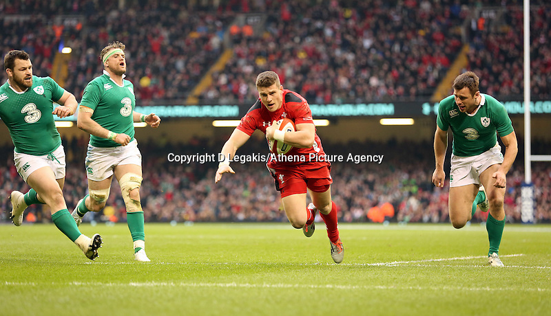 Pictured: Scott WIlliams of Wales (3rd L) scores a try Saturday 14 March 2015<br /> Re: RBS Six Nations, Wales v Ireland at the Millennium Stadium, Cardiff, south Wales, UK.
