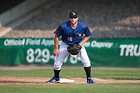 Missoula Osprey first baseman Zack Shannon (36) during a Pioneer League game against the Grand Junction Rockies at Ogren Park Allegiance Field on August 21, 2018 in Missoula, Montana. The Missoula Osprey defeated the Grand Junction Rockies by a score of 2-1. (Zachary Lucy/Four Seam Images)