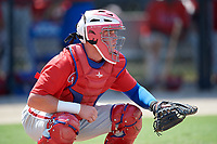 Philadelphia Phillies catcher Mitchell Edwards (19) during an Instructional League game against the Toronto Blue Jays on September 27, 2019 at Englebert Complex in Dunedin, Florida.  (Mike Janes/Four Seam Images)