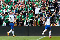 Mexico City, Mexico - Sunday June 11, 2017: Michael Bradley, Paul Arriola, USMNT celebrate a Michael Bradley goal during a 2018 FIFA World Cup Qualifying Final Round match with both men's national teams of the United States (USA) and Mexico (MEX) playing to a 1-1 draw at Azteca Stadium.