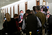 United States Senator Richard Blumenthal (Democrat of Connecticut) stops to talk with reporters as he arrives for Merrick Garland's Senate Committee on the Judiciary confirmation hearing to be Attorney General, Department of Justice, in the Hart Senate Office Building in Washington, DC, Monday, February 22, 2021. Credit: Rod Lamkey / CNP /MediaPunch