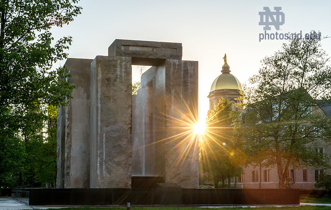 May 11, 2015; Main Building and Clarke Memorial Fountain, commonly known as Stonehenge. (Photo by Matt Cashore/University of Notre Dame)