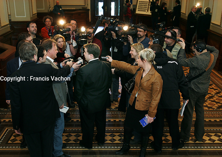 Quebec City ? March 29, 2007. Trois-Riviere MNA and official opposition leader Sebastien Proulx answer the media before ADQ?s caucus at the National Assembly in Quebec City March 29, 2007.  ADQ went from 5 MNA to 41, and many of them will have to learn the trick of the trade.<br /> <br /> PHOTO :  Francis Vachon - Agence Quebec Presse