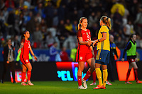 Gothenburg, Sweden - Thursday June 08, 2017: Lindsey Horan after an international friendly match between the women's national teams of Sweden (SWE) and the United States (USA) at Gamla Ullevi Stadium.