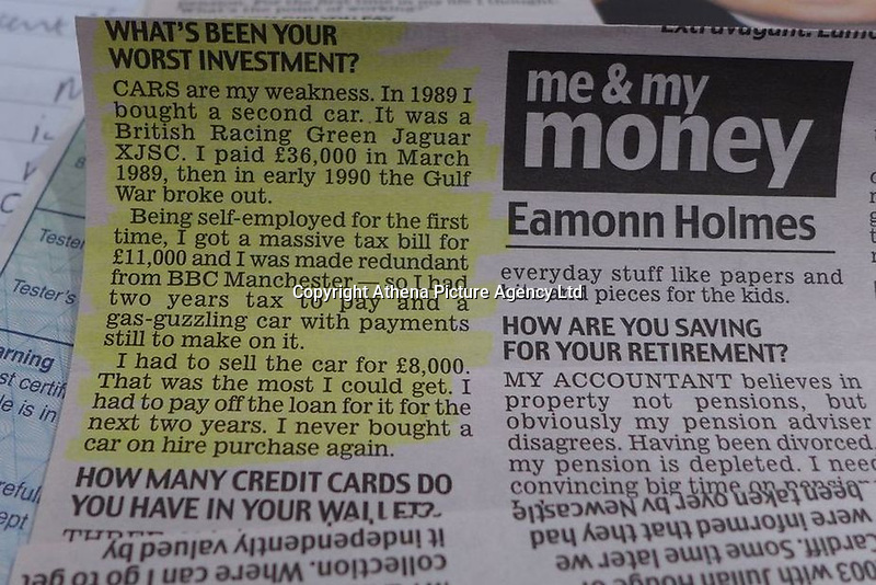 """Pictured: A newspaper cutting about the Jaguar once owned by Eamonn Holmes<br /> Re: A luxury open-top car sold by TV's Eamonn Holmes to pay off his """"massive"""" tax bill is up for grabs at auction.<br /> The host of Good Morning Britain bought the 5.3 litre Jaguar when he was earning big bucks with the BBC.<br /> But Eamonn was made redundant and at the same time he was hit with an £11,000 demand from the Inland Revenue.<br /> The car was costing him a fortune to run - it did under 15mpg.<br /> After paying a whopping £36,000 for the Jaguar XJSC, Eamonn flogged it for just £8,000 a year later.<br /> The car has an identical price tag at auction almost 30 years later.    <br /> Eamonn, 57, told how he got shot of the Jag when the 1990 Gulf War sparked a big hike in fuel prices.<br /> He said: """"Cars are my weakness - in 1989 I bought a British Racing Green Jaguar.<br /> """"I paid £36,000 in March 1989 then in early 1990 the Gulf War broke out."""