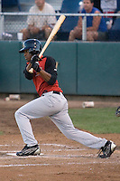 August 14, 2007: Salem-Keizer's outfielder Bruce Edwards makes contact with a pitch against the Everett AquaSox in a Northwest League game at Everett Memorial Stadium in Everett, Washington.