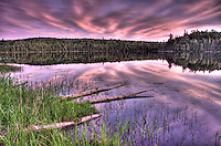 Evening sky turns pink and purple on Ward Lake in northern Minnesota.