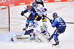 Mirko Höfflin (Nr.10 - ERC Ingolstadt), Kai Wissmann (Nr.6 - Eisbären Berlin) und Frederik Storm (Nr.9 - ERC Ingolstadt) vor Torwart Mathias Niederberger (Nr.35 - Eisbären Berlin)  beim Spiel im Halbfinale der DEL, ERC Ingolstadt (dunkel) - Eisbaeren Berlin (hell).<br /> <br /> Foto © PIX-Sportfotos *** Foto ist honorarpflichtig! *** Auf Anfrage in hoeherer Qualitaet/Aufloesung. Belegexemplar erbeten. Veroeffentlichung ausschliesslich fuer journalistisch-publizistische Zwecke. For editorial use only.