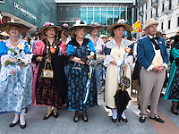 """Switzerland. Ticino. Lugano. MASI LAC. LAC Lugano Arte e Cultura. Federal Choir Festival in Costume. The beauty and tradition of costumes from all regions of Switzerland. A group """" Les Bourgeois"""" of Canton Fribourg. LAC Lugano Arte e Cultura is a new cultural centre dedicated to the visual arts, music and the performing arts. 12.06.2016 © 2016 Didier Ruef"""