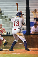 Danville Braves first baseman Mike Dodig #13 swings at a pitch during a game against the Johnson City Cardinals at Howard Johnson Field September 4, 2014 in Johnson City, Tennessee. The Braves defeated the Cardinals 6-1. (Tony Farlow/Four Seam Images)