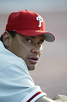 Vicente Padilla of the Philadelphia Phillies before a 2002 MLB season game against the Los Angeles Dodgers at Dodger Stadium, in Los Angeles, California. (Larry Goren/Four Seam Images)