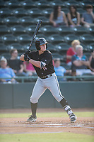 Andrew Vaughn (14) of the Kannapolis Intimidators at bat during a game against the Hickory Crawdads at L.P. Frans Stadium on July 16, 2019 in Hickory, North Carolina. The Crawdads defeated the Intimidators 5-4. (Tracy Proffitt/Four Seam Images)