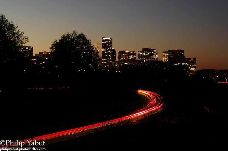 Arlington County's Rosslyn BID in twilight from the Memorial Bridge.