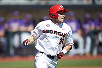 Riley King (31) of the Georgia Bulldogs hustles down the first base line against the LSU Tigers at Foley Field on March 23, 2019 in Athens, Georgia. The Bulldogs defeated the Tigers 2-0. (Brian Westerholt/Four Seam Images)