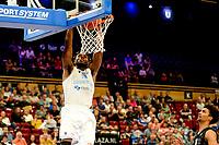 GRONINGEN - Basketbal, Donar - Apollo Amsterdam , Dutch Basketbal League, seizoen 2021-2022, 26-09-2021, duik Donar speler Amanze Egekeze