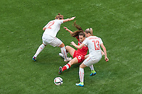 June 21, 2015: Allysha CHAPMAN of Canada kicks the ball during a round of 16 match between Canada and Switzerland at the FIFA Women's World Cup Canada 2015 at BC Place Stadium on 21 June 2015 in Vancouver, Canada. Canada won 1-0. Sydney Low/Asteriskimages.com
