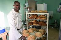 SENEGAL, Benedictine monastery Keur Moussa, bakery / Senegal, Benediktinerkloster Keur Moussa, Bäckerei, Fr. Saturnin Hounlodsi
