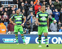Ashley Williams of Swansea City is dejected after conceding a goal during the Barclays Premier League match between Newcastle United and Swansea City played at St. James' Park, Newcastle upon Tyne, on the 16th April 2016