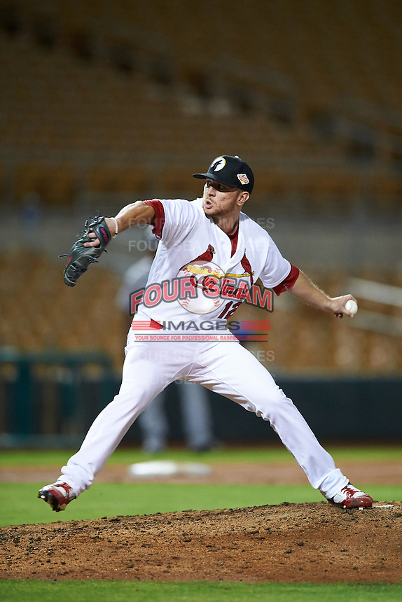 Glendale Desert Dogs pitcher Corey Littrell (12), of the St. Louis Cardinals organization, during a game against the Salt River Rafters on October 19, 2016 at Camelback Ranch in Glendale, Arizona.  Salt River defeated Glendale 4-2.  (Mike Janes/Four Seam Images)