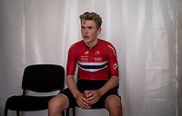 Per Strand Hagenes (NOR) is the newest Junior Men World Champion and waits backstage for the podium ceremony to start<br /> <br /> World Championships Junior Men - Road Race (WC)<br /> from Leuven to Leuven (121.4km)<br /> <br /> UCI Road World Championships - Flanders Belgium 2021<br /> <br /> ©kramon