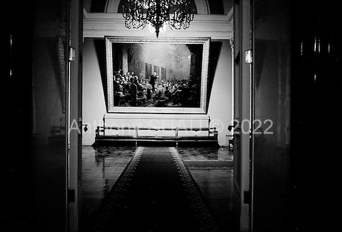 """Moscow, Russia<br /> Soviet Union<br /> August 6, 1991<br /> <br /> A view from inside the Kremlin moments before Mikhail Gorbachev and Boris Yelstin conduct a private interview with US ABC television.<br /> <br /> In December 1991, food shortages in central Russia had prompted food rationing in the Moscow area for the first time since World War II. Amid steady collapse, Soviet President Gorbachev and his government continued to oppose rapid market reforms like Yavlinsky's """"500 Days"""" program. To break Gorbachev's opposition, Yeltsin decided to disband the USSR in accordance with the Treaty of the Union of 1922 and thereby remove Gorbachev and the Soviet government from power. The step was also enthusiastically supported by the governments of Ukraine and Belarus, which were parties of the Treaty of 1922 along with Russia.<br /> <br /> On December 21, 1991, representatives of all member republics except Georgia signed the Alma-Ata Protocol, in which they confirmed the dissolution of the Union. That same day, all former-Soviet republics agreed to join the CIS, with the exception of the three Baltic States."""