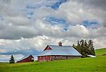 Latah County, Palouse Region, Idaho: Weathered red western style barn