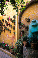 Colorful flowers and architecture in San Miguel de Allende Mexico.