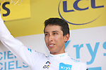 Egan Bernal (COL) Team Ineos retains the young riders White Jersey at the end of Stage 16 of the 2019 Tour de France running 177km from Nimes to Nimes, France. 23rd July 2019.<br /> Picture: Colin Flockton   Cyclefile<br /> All photos usage must carry mandatory copyright credit (© Cyclefile   Colin Flockton)