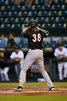 Jupiter Hammerheads Lorenzo Hampton (38) bats during a game against the Bradenton Marauders on June 26, 2021 at LECOM Park in Bradenton, Florida.  (Mike Janes/Four Seam Images)