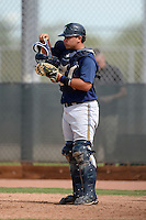 Milwaukee Brewers catcher Kevin Martinez (32) during an Instructional League game against the Cincinnati Reds on October 6, 2014 at Maryvale Baseball Park Training Complex in Phoenix, Arizona.  (Mike Janes/Four Seam Images)
