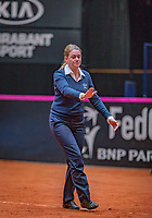 Den Bosch, The Netherlands, Februari 9, 2019,  Maaspoort , FedCup  Netherlands - Canada, First round match : Upiter overrulen<br /> Photo: Tennisimages/Henk Koster