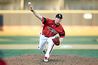 Louisville Cardinals relief pitcher Sam Bordner (13) delivers a pitch to the plate against the Wake Forest Demon Deacons at David F. Couch Ballpark on March 17, 2018 in  Winston-Salem, North Carolina.  The Cardinals defeated the Demon Deacons 11-6.  (Brian Westerholt/Four Seam Images)